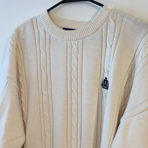 IZOD White Chunky Cable Knit Sweater Sz Large